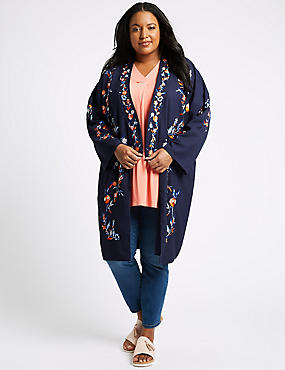 CURVE Embroidered Long Sleeve Kimono Top, NAVY, catlanding