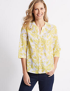 Pure Cotton Floral Print 3/4 Sleeve Blouse , SOFT LIME, catlanding