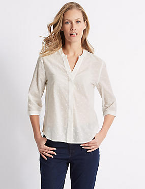 Pure Cotton Spotted 3/4 Sleeve Blouse , IVORY, catlanding