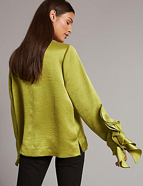 Funnel Neck Ruffle Sleeve Blouse