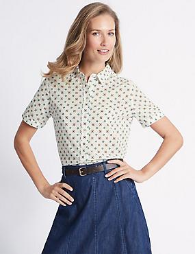 Pure Cotton Geometric Print Shirt , CREAM MIX, catlanding