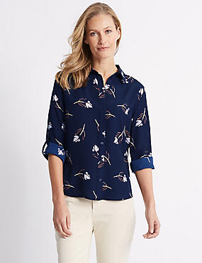 Floral Print Long Sleeve Shirt , NAVY MIX, catlanding