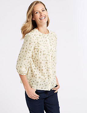 Pure Cotton Printed 3/4 Sleeve Blouse , IVORY MIX, catlanding
