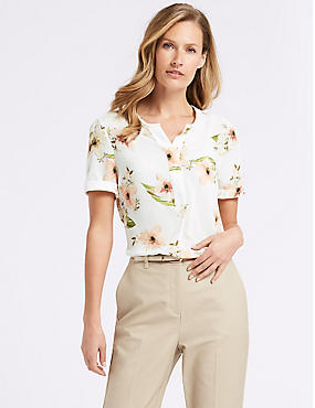 Floral Print Short Sleeve Shell Top , IVORY MIX, catlanding