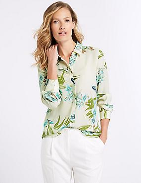 Floral Print Long Sleeve Shirt , IVORY MIX, catlanding