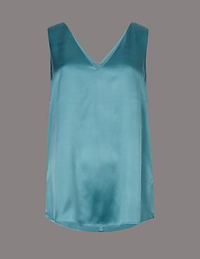 Pure Silk V-Neck Sleeveless Blouse, TEAL, catlanding