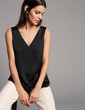 Pure Silk V-Neck Sleeveless Blouse, BLACK, catlanding