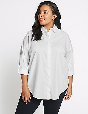 CURVE Cotton Rich Long Sleeve Shirt, WHITE, catlanding