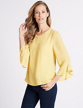 Round Neck Long Sleeve Shell Top , PALE YELLOW, catlanding