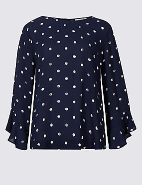 Printed Round Neck Long Sleeve Shell Top , NAVY MIX, catlanding