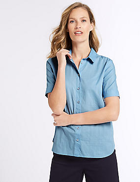Pure Cotton Half Sleeve Shirt  , CHAMBRAY, catlanding