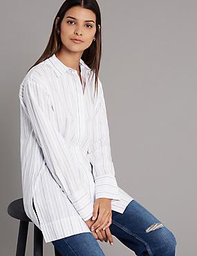 Pure Cotton Striped Long Sleeve Shirt , WHITE MIX, catlanding