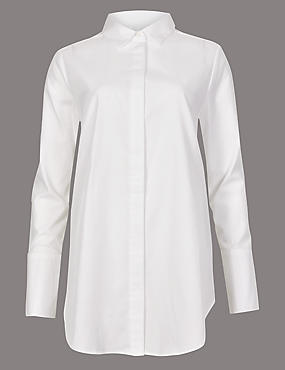Pure Cotton Longline Long Sleeve Shirt, SOFT WHITE, catlanding