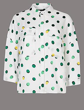 Spotted 3/4 Sleeve Shirt , IVORY MIX, catlanding