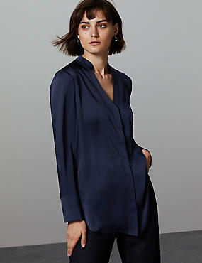 Printed Satin Notch Neck Long Sleeve Blouse , BLUE MIX, catlanding