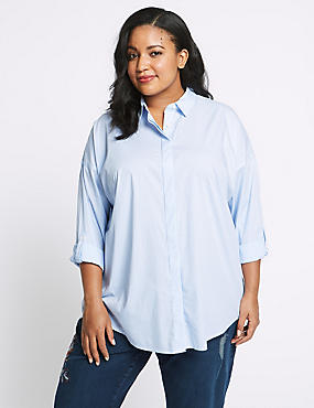 CURVE Cotton Rich Striped Long Sleeve Shirt, PALE BLUE, catlanding