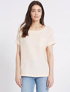 Pure Linen Short Sleeve Shell Top