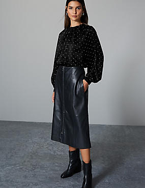 Printed Round Neck Long Sleeve Blouse, BLACK MIX, catlanding