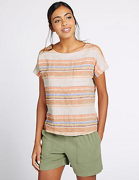 Pure Linen Striped Short Sleeve Shell Top