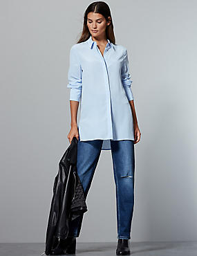 Pure Silk Long Sleeve Shirt, CHAMBRAY, catlanding