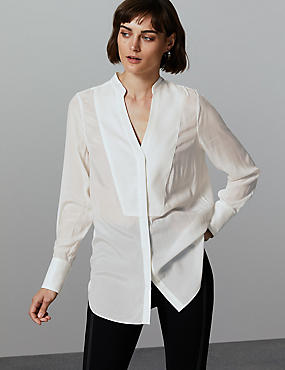 Notch Neck Long Sleeve Blouse , SOFT WHITE, catlanding