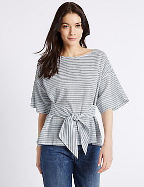 Linen Rich Striped Tie Front Shell Top
