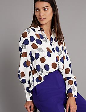 Printed Long Sleeve Shirt , IVORY MIX, catlanding