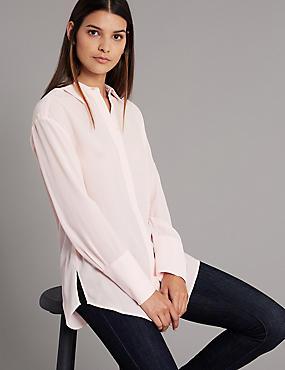 Pure Silk Long Sleeve Shirt , , catlanding