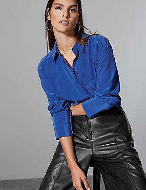 Pure Silk Long Sleeve Shirt , COBALT, catlanding