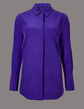 Pure Silk Long Sleeve Shirt , PURPLE, catlanding