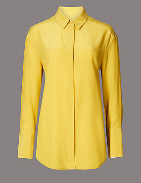 Pure Silk Long Sleeve Shirt , YELLOW, catlanding
