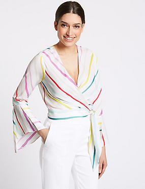 Striped Satin V-Neck Long Sleeve Wrap , IVORY MIX, catlanding