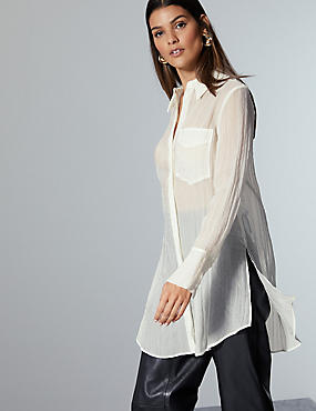 Textured Longline Long Sleeve Shirt, SOFT WHITE, catlanding