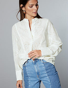 Cotton Rich Oversized Embroidered Shirt , CREAM, catlanding
