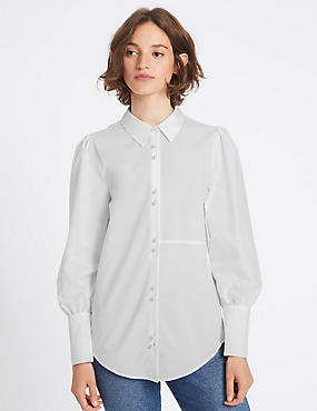 Cotton Blend Bubble Sleeve Shirt