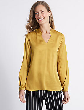 Notch Neck Long Sleeve Tunic