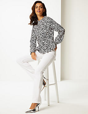 Printed Round Neck Long Sleeve Blouse , MULTI, catlanding