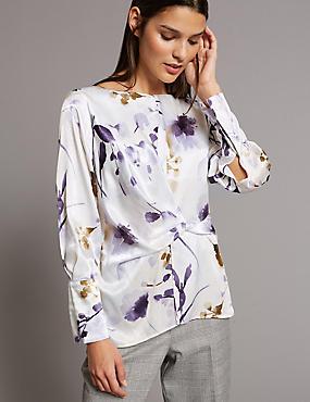 Floral Print Wrap Front Long Sleeve Blouse , WHITE MIX, catlanding