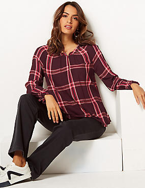 Checked V-Neck Long Sleeve Blouse, BURGUNDY, catlanding