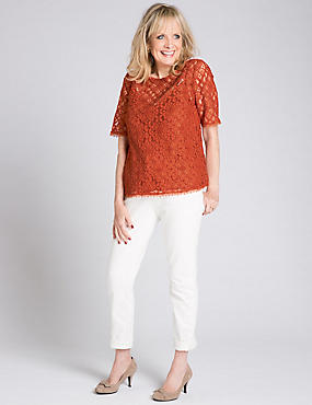 Cotton Blend Round Neck Half Sleeve Blouse