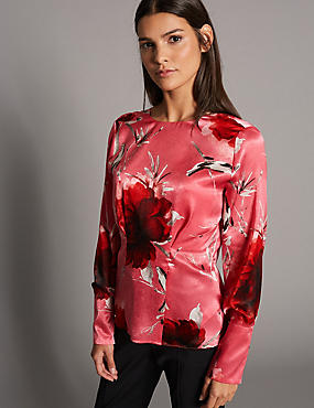 Floral Print Satin Long Sleeve Blouse