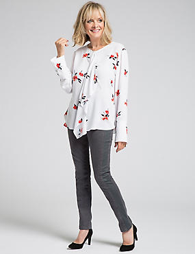 Floral Print Frill Front Long Sleeve Blouse