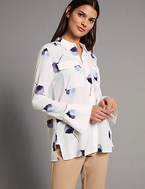 Pure Silk Floral Print Long Sleeve Shirt , WHITE MIX, catlanding