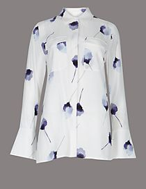 Pure Silk Floral Print Long Sleeve Shirt