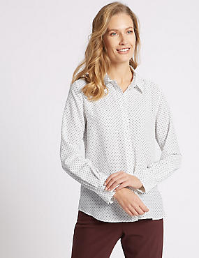 Spotted Long Sleeve Shirt, IVORY MIX, catlanding
