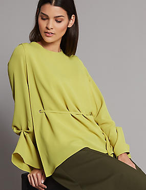 Cuff Detail Round Neck Long Sleeve Blouse , WINTER LIME, catlanding