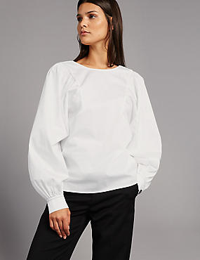 Pure Cotton Pleated Long Sleeve Blouse