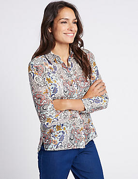 Cotton & Silk Blend Paisley Print Shirt