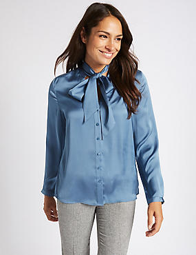 Satin Notch Neck Long Sleeve Shirt
