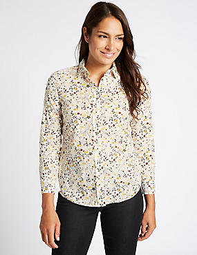 Pure Cotton Ditsy Print Long Sleeve Shirt
